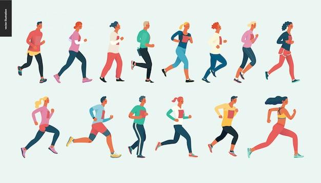 Grupo de corrida de maratona