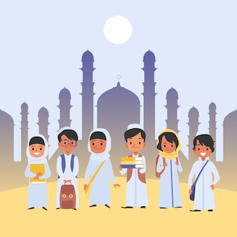 Grupo de crianças árabes fica em roupas tradicionais, com estilo cartoon de mochilas escolares, em fundo plano com templo muçulmano. alunos felizes segurando mochilas e livros