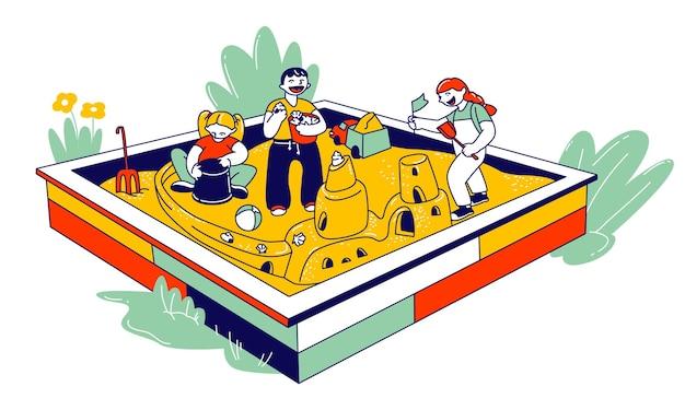 Grupo de crianças brincando na caixa de areia, construindo um castelo de areia, atividades ao ar livre para pré-escolares, desenho animado ilustração plana