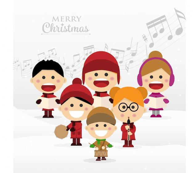 Grupo de crianças cantando canções de natal