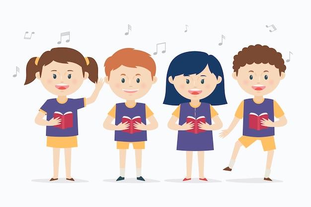 Grupo de crianças cantando em um coro