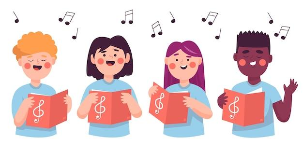 Grupo de crianças cantando em uma ilustração de coro