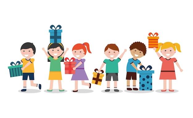 Grupo de crianças com caixas de presente bem embrulhadas