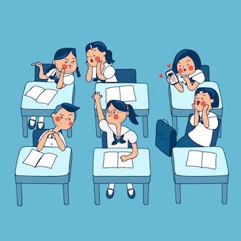 Grupo de crianças da escola secundária tailandesa isoladas no fundo.