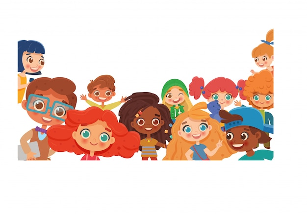 Grupo de crianças diversas felizes acenando para a câmera. panorama infantil, conceito, brochura. personagem de desenho animado isolado no fundo branco