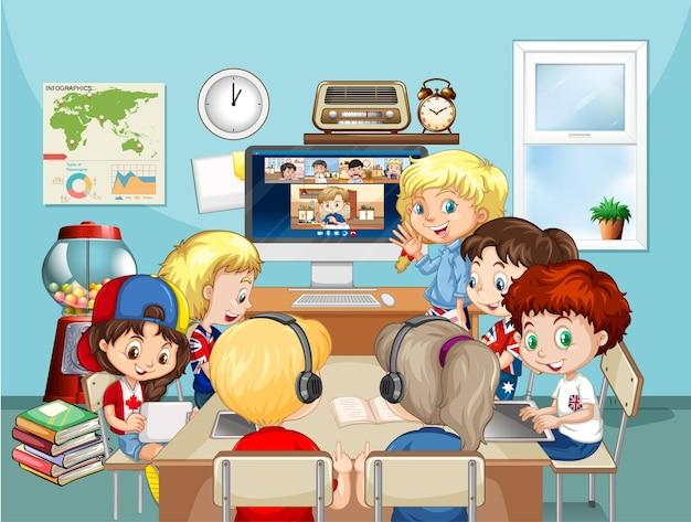 Grupo de crianças estudando online na cena da sala