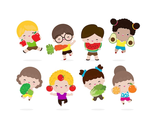 Grupo de crianças felizes com vegetais e frutas crianças de desenho animado comendo vegetais