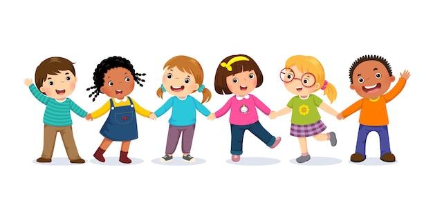 Grupo de crianças felizes, de mãos dadas. conceito de amizade