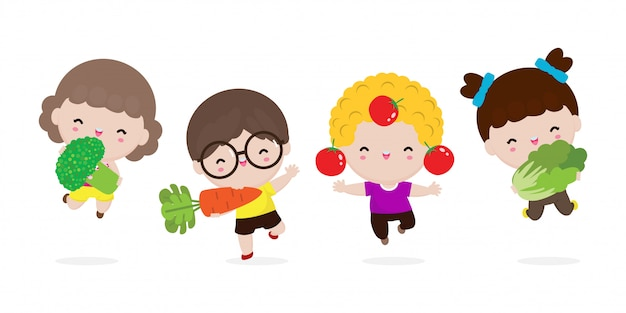 Grupo de crianças felizes e legumes, crianças bonito dos desenhos animados, comendo brócolis, cenoura, tomate, couve chinesa, criança segurando sorrindo legumes ao vivo, comida saudável na fazenda isolada no fundo branco