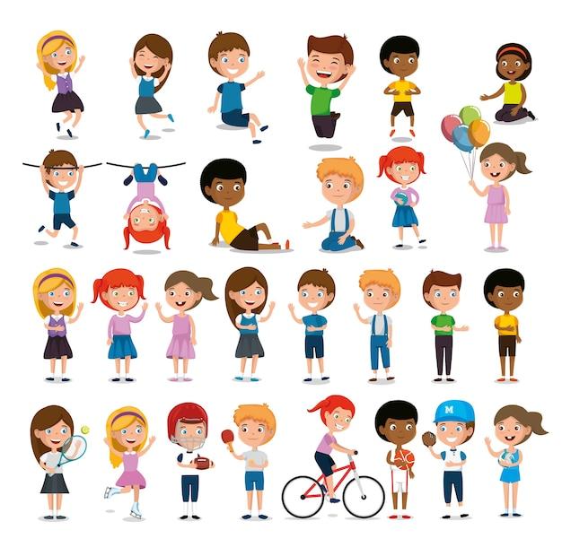 Grupo de crianças felizes praticando esportes caracteres