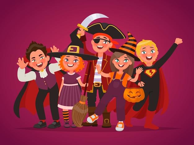 Grupo de crianças felizes vestidas para fantasias de halloween. doçura ou travessura. elemento para design de cartaz. ilustração vetorial no estilo cartoon