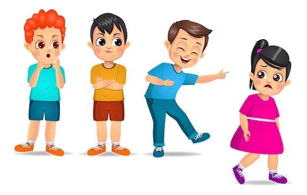Grupo de crianças intimida seu amigo. isolado no branco