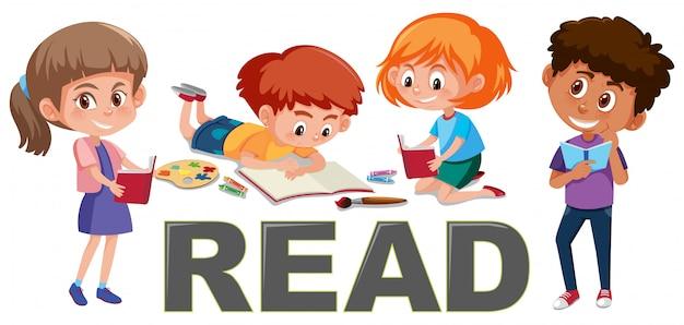 Grupo de crianças ler o conceito