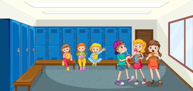 Grupo de crianças no vestiário