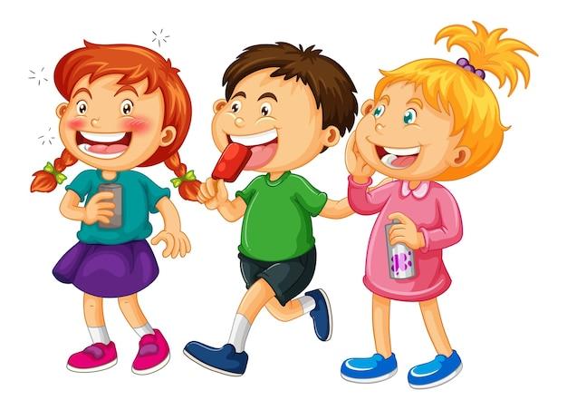 Grupo de crianças pequenas com personagens em branco
