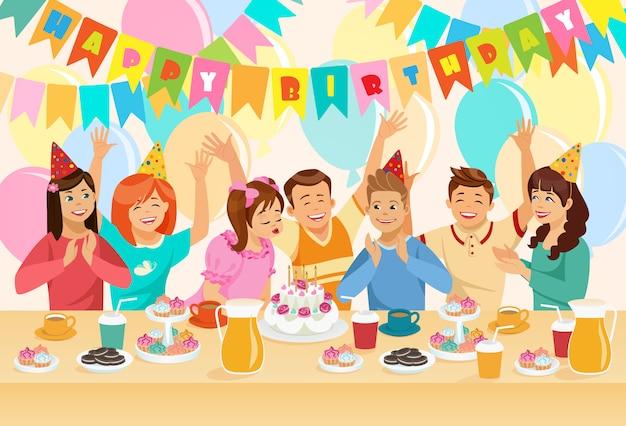 Grupo de crianças que comemoram o feliz aniversario.