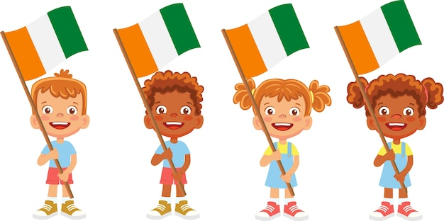 Grupo de crianças segurando a ilustração da bandeira nacional