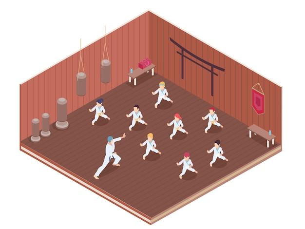 Grupo de crianças tendo aulas de artes marciais na ilustração em vetor isométrica 3d de ginásio