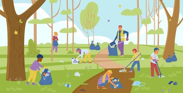 Grupo de crianças voluntárias com um adulto recolhendo lixo na floresta