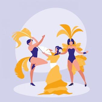 Grupo de dançarinos mulheres ícone isolado