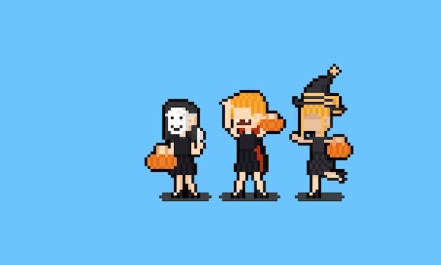 Grupo de desenho animado de pixel art de menina com fantasia de halloween.