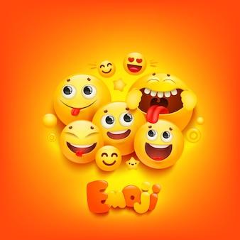 Grupo de desenho animado emoji sorrir personagem sobre fundo amarelo. expressão facial.