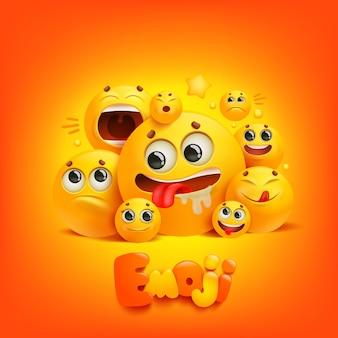 Grupo de desenho animado emoji sorrir personagem sobre fundo amarelo.