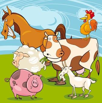 Grupo de desenhos animados de animais de fazenda