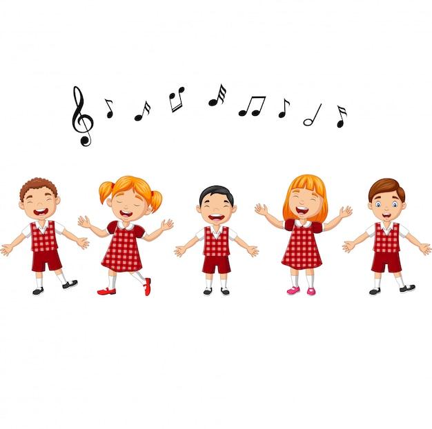 Grupo de desenhos animados de crianças cantando no coral da escola