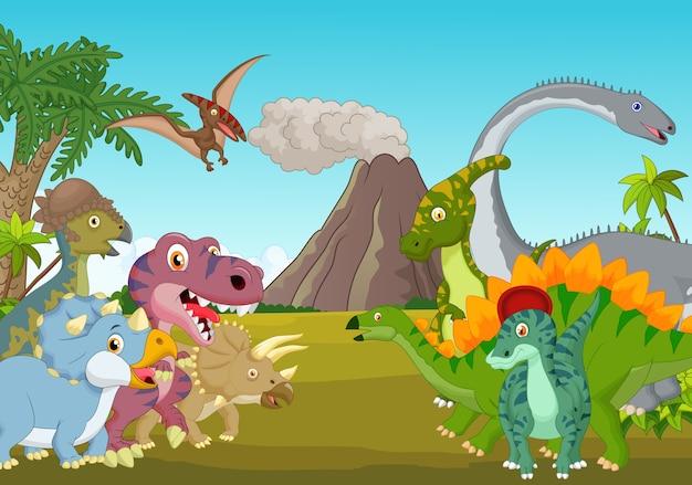 Grupo de desenhos animados de dinossauro com montanha