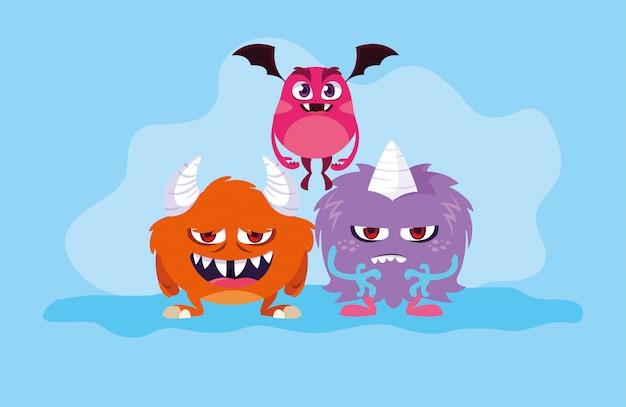 Grupo de desenhos animados de monstros