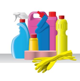 Grupo de detergentes e produtos de limpeza