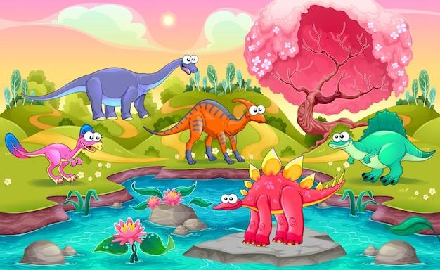 Grupo de dinossauros engraçados em uma paisagem natural ilustração vetorial de desenho animado