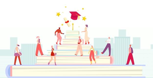 Grupo de diversos alunos andando escadas de educação