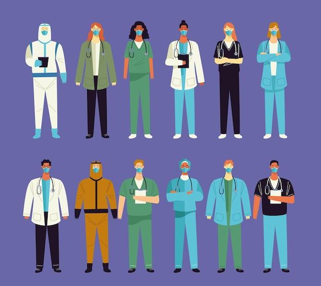 Grupo de doze personagens médicos da equipe médica