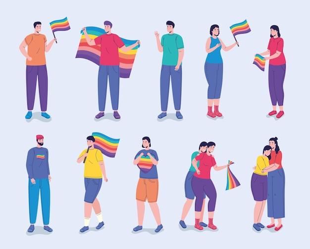 Grupo de doze pessoas com personagens de bandeiras lgtbi