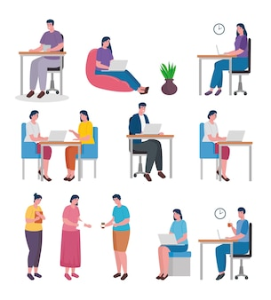 Grupo de doze trabalhadores compartilhando personagens de escritório