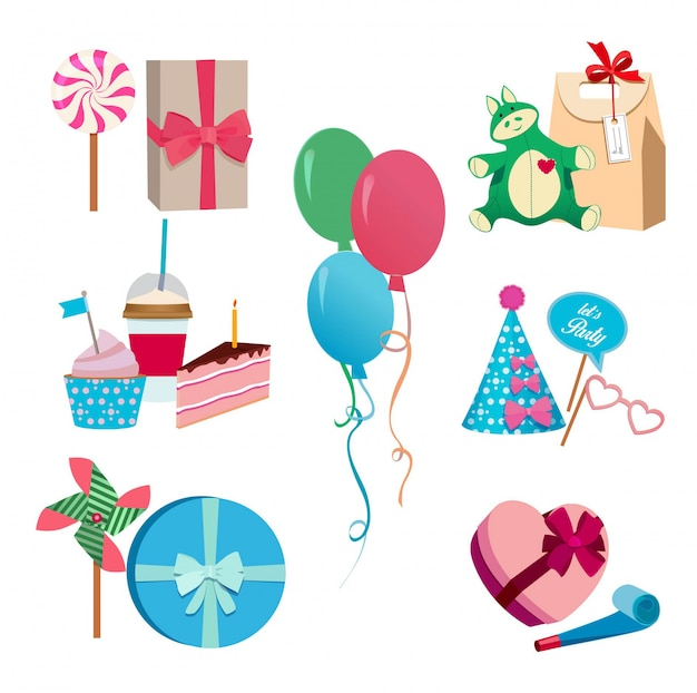 Grupo de elementos diferente do vetor festivo ou da festa de anos. balões, bandeiras de chapéus e máscaras coloridas.