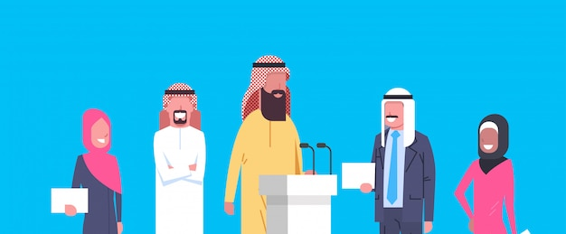Grupo de empresários árabes na reunião de conferência ou apresentação, equipe de empresários árabes de candidatos políticos
