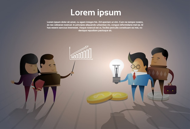 Grupo de empresários asiáticos brainstorming reunião pensando novas idéias ou projetos