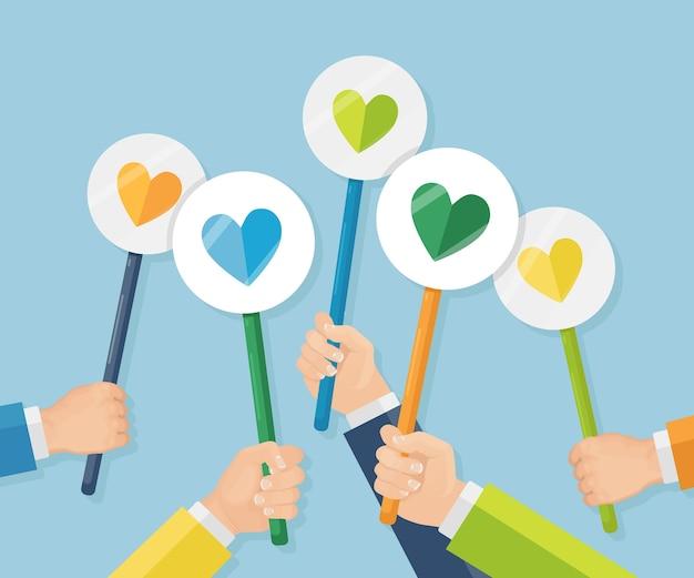 Grupo de empresários com cartaz de coração vermelho. redes sociais, rede. boa opinião. testemunhos, feedback, avaliação de clientes, etc. dia dos namorados.