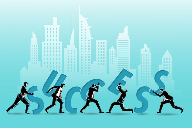 Grupo de empresários compondo a palavra sucesso no fundo de edifícios