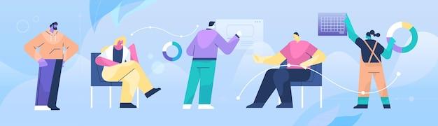 Grupo de empresários de raça mista apresentando gráficos financeiros, trabalho em equipe, apresentação, conceito, comprimento total, horizontal, vetorial