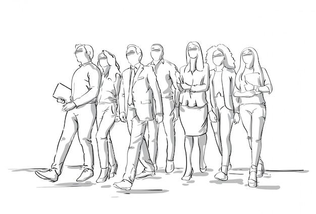 Grupo de empresários de sketch andando homens de negócios e mulheres multidão de comprimento total