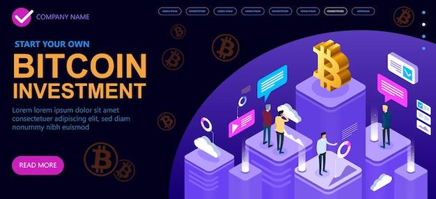 Grupo de empresários discute bitcoins de mineração, conceito isométrico de criptomoeda bitcoin, banner de conceito de vetor isométrico, ilustração vetorial