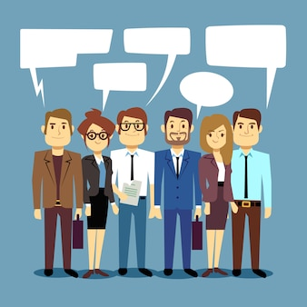 Grupo de empresários falando. conceito de trabalho em equipe com pessoas humanas e bolhas do discurso