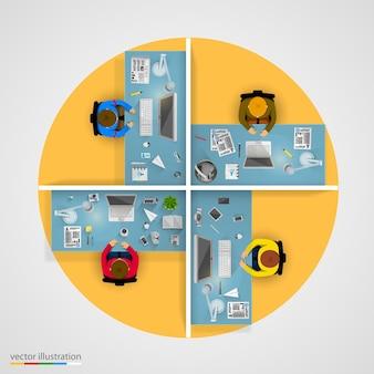Grupo de empresários trabalhando no escritório. ilustração vetorial