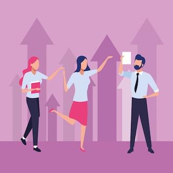 Grupo de empresários, trabalho em equipe com ilustração de setas para cima personagens