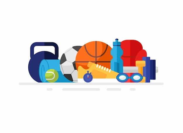 Grupo de equipamentos esportivos. ilustração plana