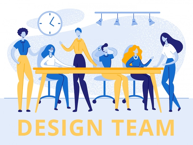 Grupo de equipe de banner criativo de homens e mulheres
